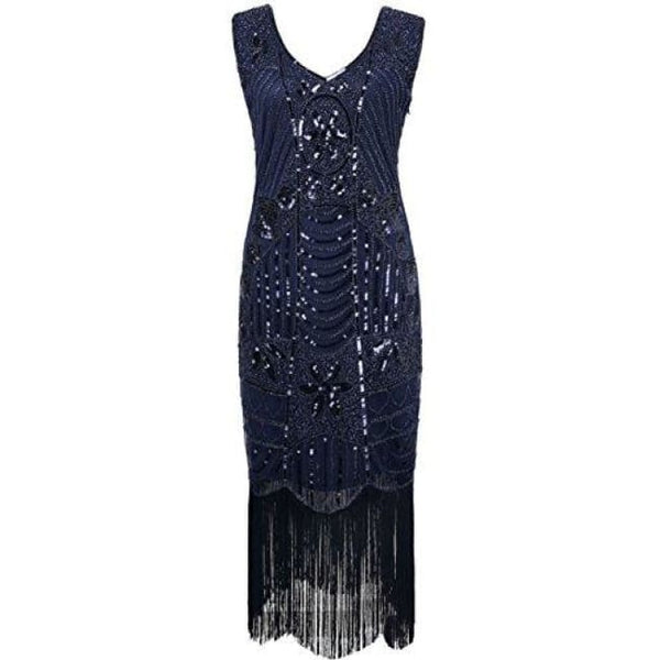 1920S Gatsby Sequin Art Deco Fringed Cocktail Flapper Dress Small / Navy Back To Prettyguide Store