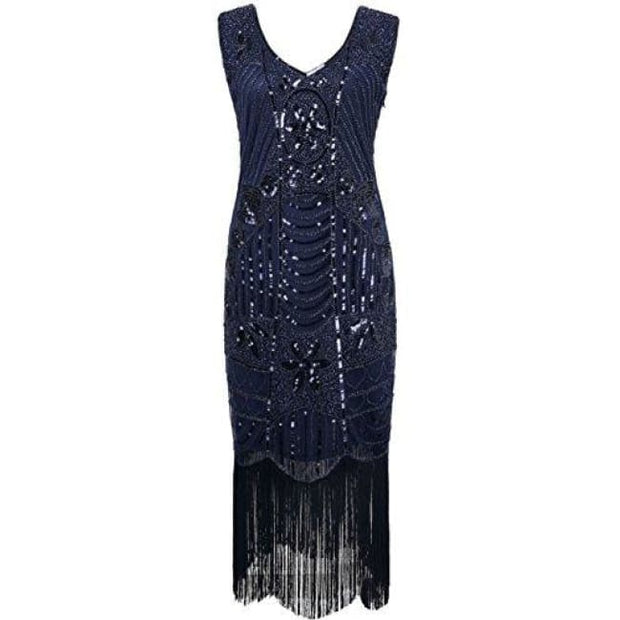 1920S Gatsby Sequin Art Deco Fringed Cocktail Flapper Dress Small / Navy