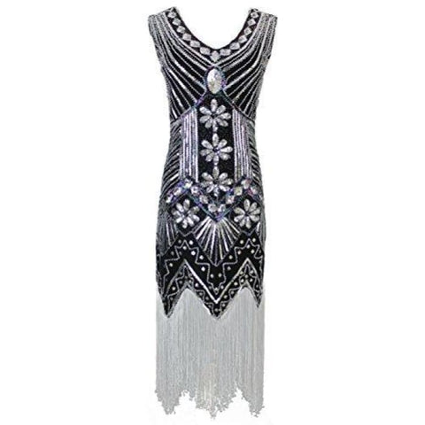 1920S Gatsby Sequin Art Nouveau Embellished Fringed Flapper Dress Back To Results