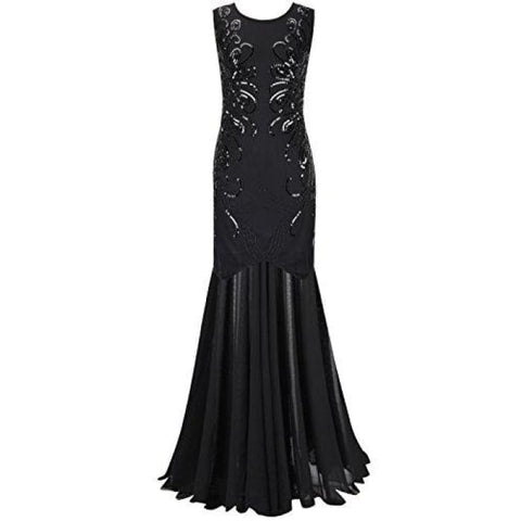 1920S Gown Sequin Long Flapper Evening Formal Dress Small / Black