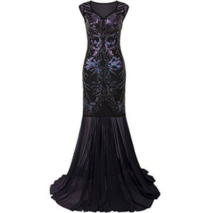 f3f4fc1cad0ac 1920S Long Prom Dresses V Neck Beaded Sequin Gatsby Maxi Evening Dress  Dresses