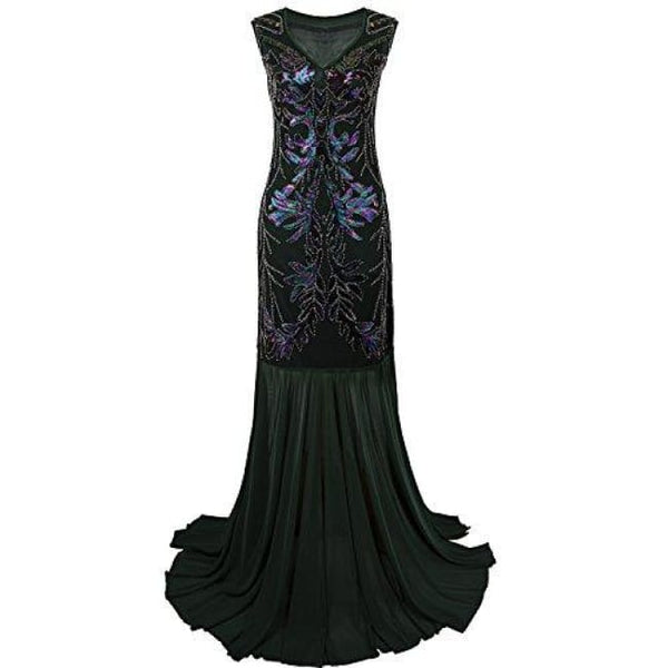 1920S Long Prom Dresses V Neck Beaded Sequin Gatsby Maxi Evening Dress Small / Green Dresses