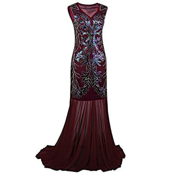 1920S Long Prom Dresses V Neck Beaded Sequin Gatsby Maxi Evening Dress Small / Red Dresses