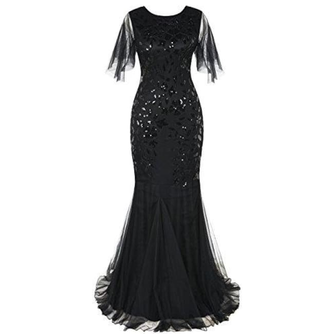 1920S Maxi Long Prom Gowns Sequin Mermaid Hem Evening Dress With Sleeves 4/6 / Black Dresses