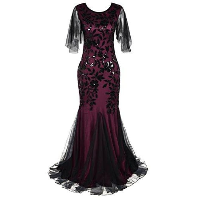1920S Maxi Long Prom Gowns Sequin Mermaid Hem Evening Dress With Sleeves 4/6 / Burgundy Dresses