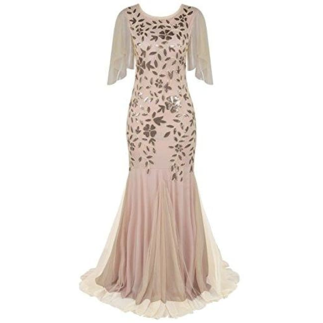 1920S Maxi Long Prom Gowns Sequin Mermaid Hem Evening Dress With Sleeves 4/6 / Champagne Beige Dresses