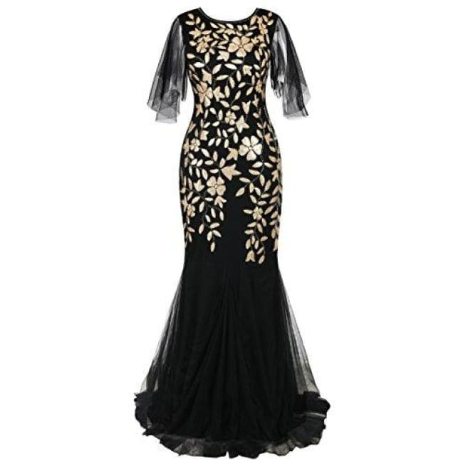 1920S Maxi Long Prom Gowns Sequin Mermaid Hem Evening Dress With Sleeves 4/6 / Matte Gold Dresses