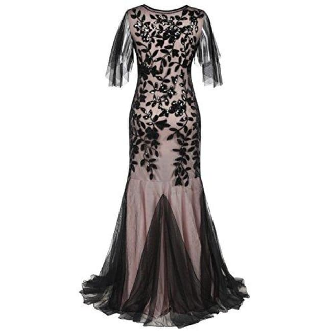 1920S Maxi Long Prom Gowns Sequin Mermaid Hem Evening Dress With Sleeves Dresses