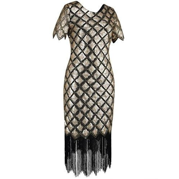 1920S Sequin Full Deco Cocktail Flapper Dress With Sleeve