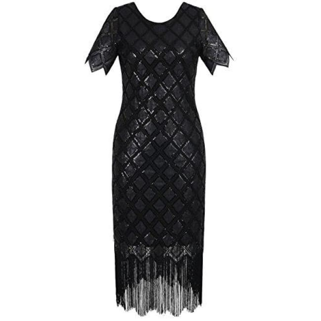 1920S Sequin Full Deco Cocktail Flapper Dress With Sleeve Small / Black