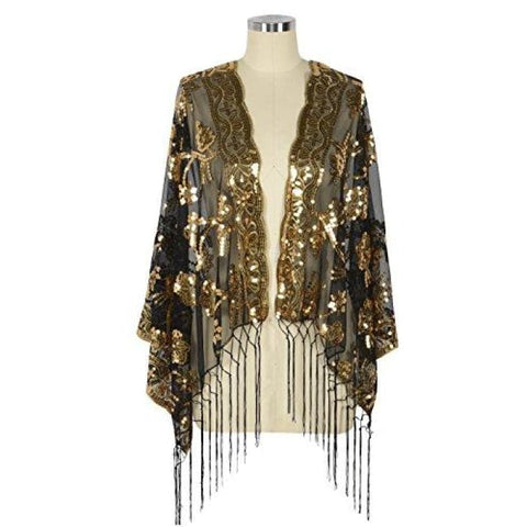 1920S Shawl Sequin Fringed Wedding Cape Evening Shawl