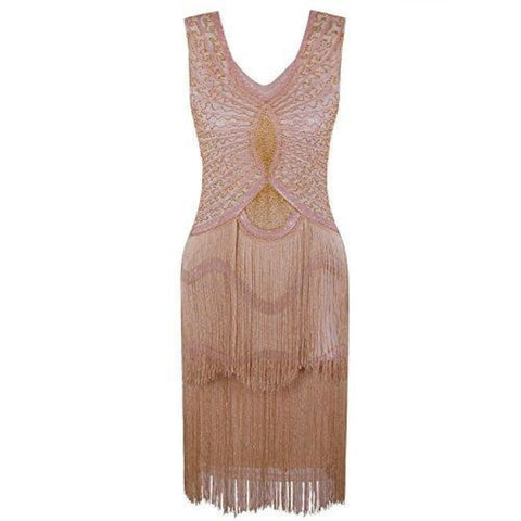 1920S Style Inspired Charleston Sequin Layer Tassel Cocktail Flapper Dress X-Small / Apricot Gold Back To Results