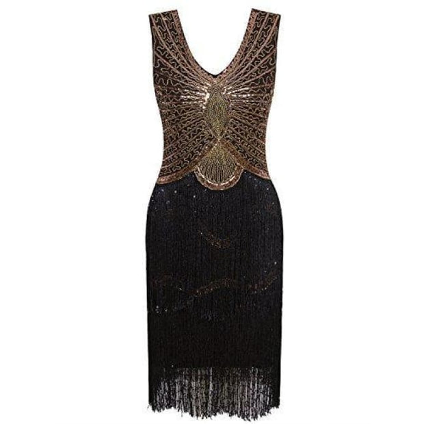 1920S Style Inspired Charleston Sequin Layer Tassel Cocktail Flapper Dress X-Small / Black Gold Back To Results
