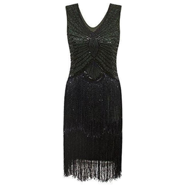 1920S Style Inspired Charleston Sequin Layer Tassel Cocktail Flapper Dress X-Small / Green Back To Results