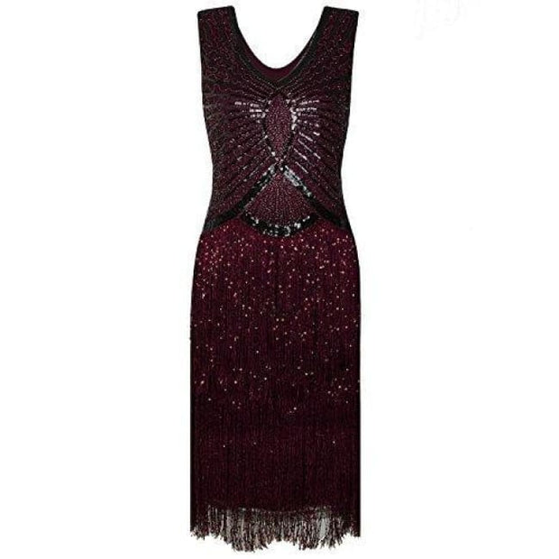 1920S Style Inspired Charleston Sequin Layer Tassel Cocktail Flapper Dress X-Small / Wine Red Back To Results