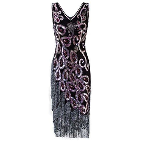 1920S Style Peacock Sequin Roaring 20S Gatsby Party Flapper Dress Back To Results