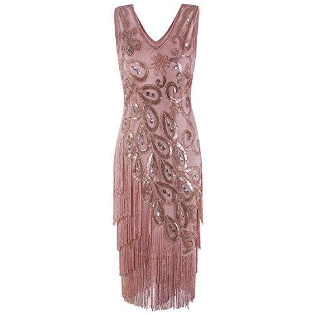 1920S Style Peacock Sequin Roaring 20S Gatsby Party Flapper Dress Small / Champagne Gold Back To Results