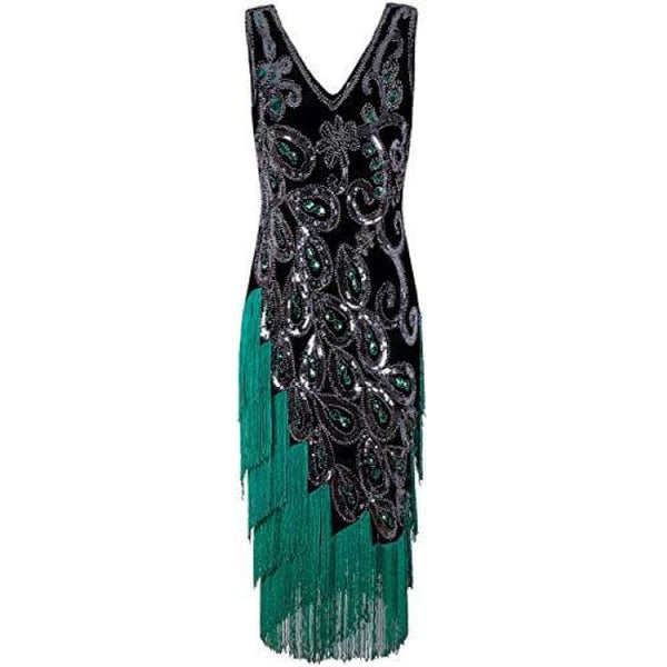 1920S Style Peacock Sequin Roaring 20S Gatsby Party Flapper Dress Small / Green Back To Results