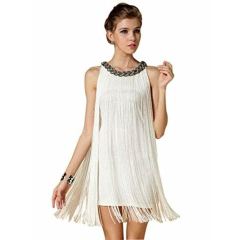 1920S V Neck Beaded Fringed Great Gatsby Dress