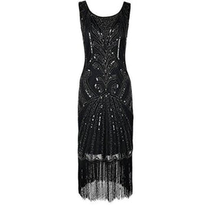 1920S Vintage Beads Art Deco Inspired Cocktail Flapper Dress Small / Black Back To Prettyguide Store