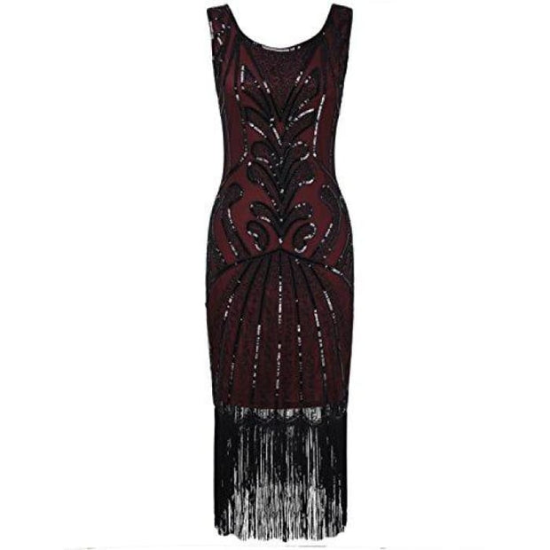 1920S Vintage Beads Art Deco Inspired Cocktail Flapper Dress Small / Burgundy Back To Prettyguide Store
