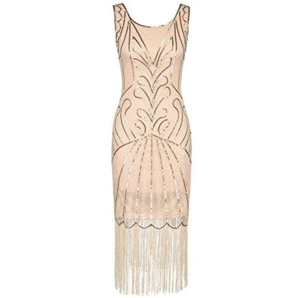 1920S Vintage Beads Art Deco Inspired Cocktail Flapper Dress Small / Champange Back To Prettyguide Store