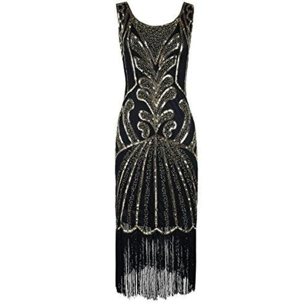 1920S Vintage Beads Art Deco Inspired Cocktail Flapper Dress Small / Gold Back To Prettyguide Store
