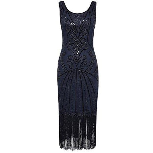1920S Vintage Beads Art Deco Inspired Cocktail Flapper Dress Small / Navy Back To Prettyguide Store