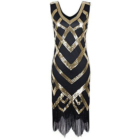 1920S Vintage Beads Sequin Crisscross Fringe Hem Flapper Dress Back To Prettyguide Store
