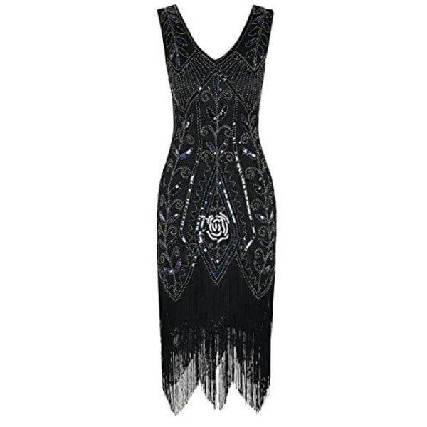1920S Vintage Cocktail Dress Art Deco Sequin Fringed Flapper Dress Back To Prettyguide Store