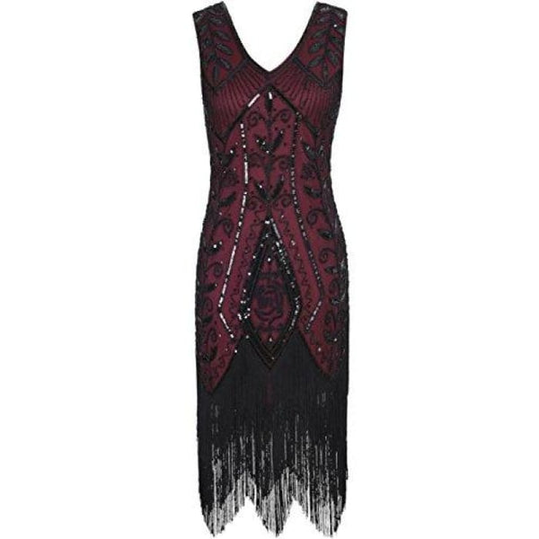 1920S Vintage Cocktail Dress Art Deco Sequin Fringed Flapper Dress Small / Burgundy Back To Prettyguide Store