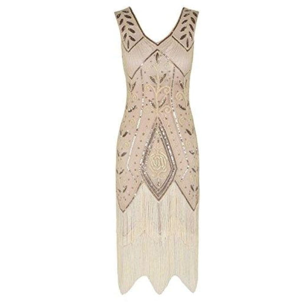 1920S Vintage Cocktail Dress Art Deco Sequin Fringed Flapper Dress Small / Champagne Beige Back To Prettyguide Store