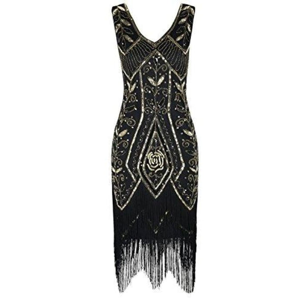 1920S Vintage Cocktail Dress Art Deco Sequin Fringed Flapper Dress Small / Gold Back To Prettyguide Store