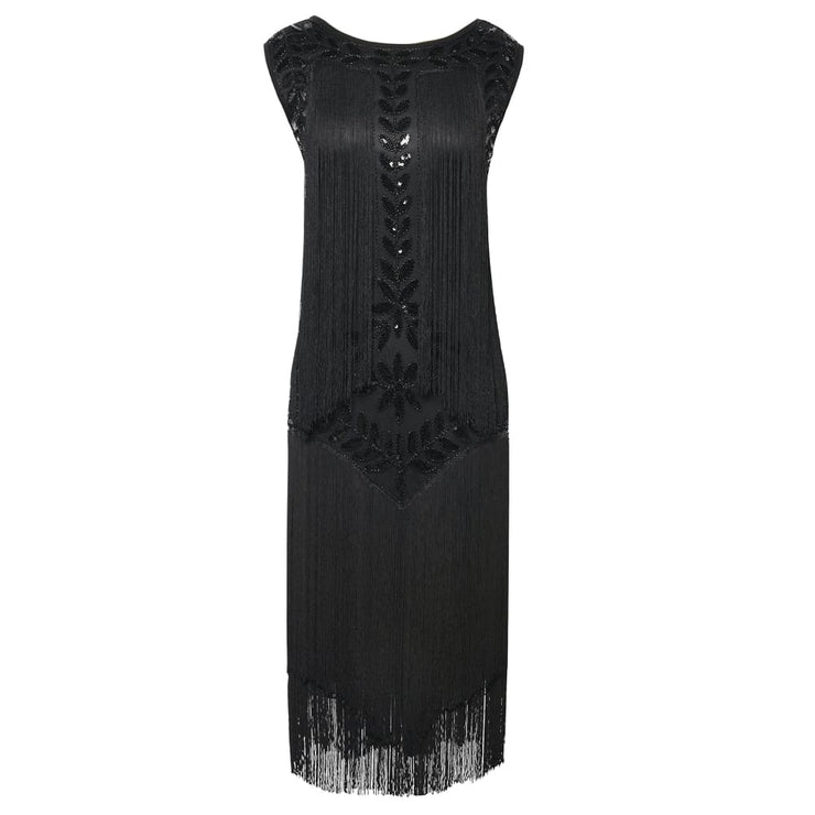 1920S Vintage Sequin Full Fringed Deco Inspired Flapper Dress Back To Prettyguide Store