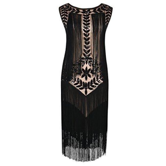 1920S Vintage Sequin Full Fringed Deco Inspired Flapper Dress Small / Black Beige Back To Prettyguide Store