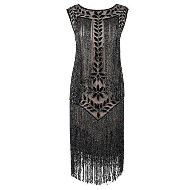 1920S Vintage Sequin Full Fringed Deco Inspired Flapper Dress Small / Black Beige Silver Back To Prettyguide Store