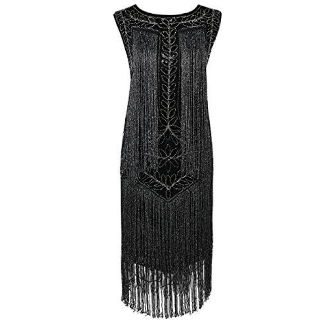 1920S Vintage Sequin Full Fringed Deco Inspired Flapper Dress Small / Black Silver Back To Prettyguide Store