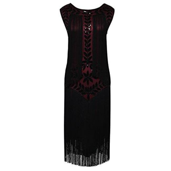 1920S Vintage Sequin Full Fringed Deco Inspired Flapper Dress Small / Burgundy Back To Prettyguide Store