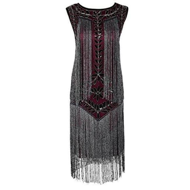 1920S Vintage Sequin Full Fringed Deco Inspired Flapper Dress Small / Burgundy Silver Back To Prettyguide Store