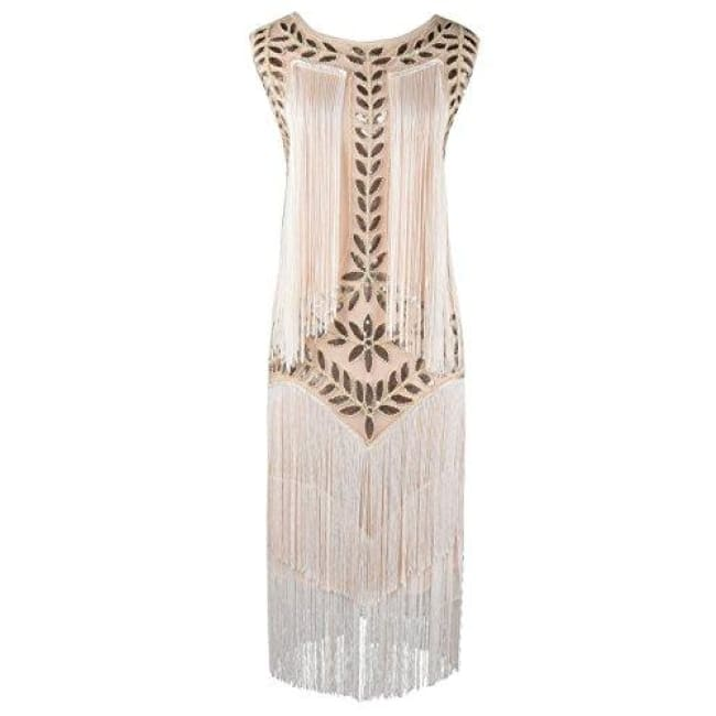 1920S Vintage Sequin Full Fringed Deco Inspired Flapper Dress Small / Champagne