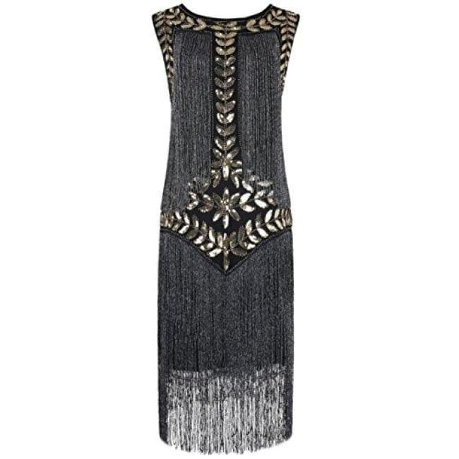 1920S Vintage Sequin Full Fringed Deco Inspired Flapper Dress Small / Gold Back To Prettyguide Store