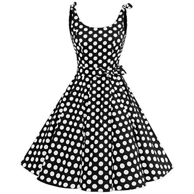 1950S Bowknot Vintage Retro Polka Dot Rockabilly Swing Dress Dresses