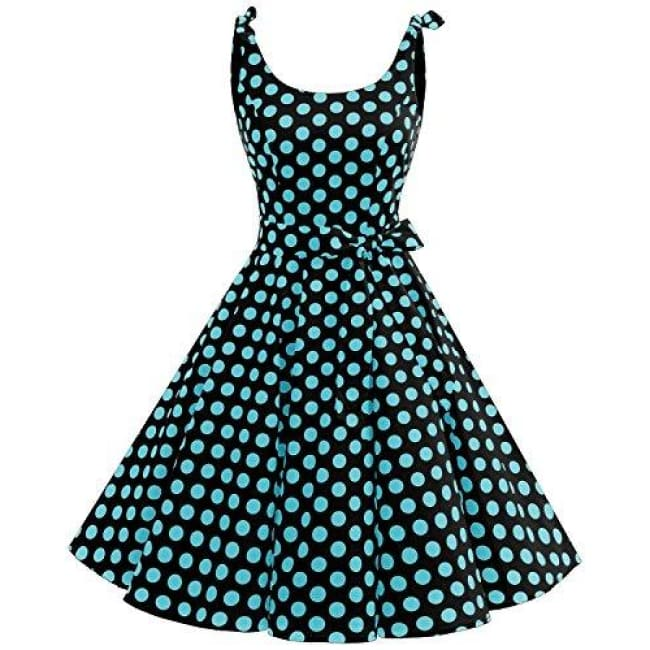1950S Bowknot Vintage Retro Polka Dot Rockabilly Swing Dress X-Small / Black Blue Bdot Dresses