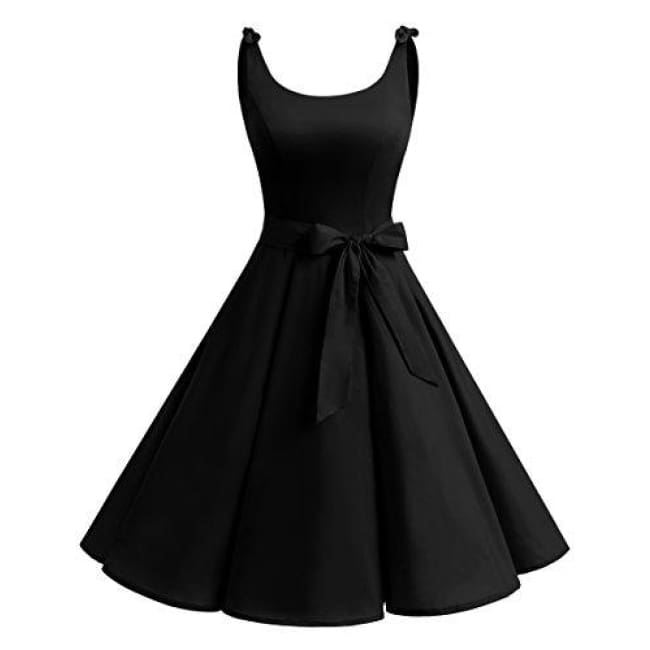 1950S Bowknot Vintage Retro Polka Dot Rockabilly Swing Dress X-Small / Black Dresses