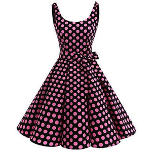 1950S Bowknot Vintage Retro Polka Dot Rockabilly Swing Dress X-Small / Black Pink Bdot Dresses