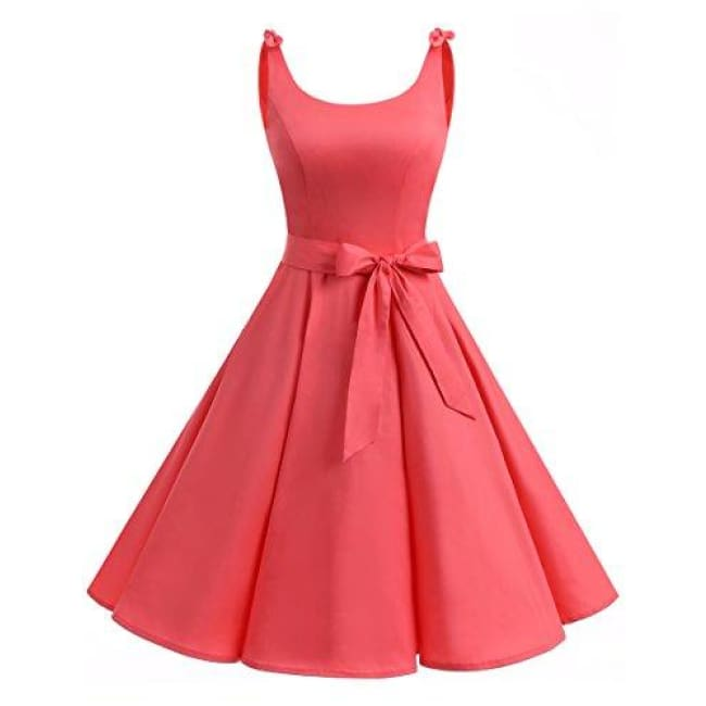 1950S Bowknot Vintage Retro Polka Dot Rockabilly Swing Dress X-Small / Coral Dresses