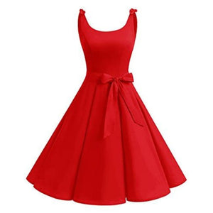 1950S Bowknot Vintage Retro Polka Dot Rockabilly Swing Dress X-Small / Darkred Dresses