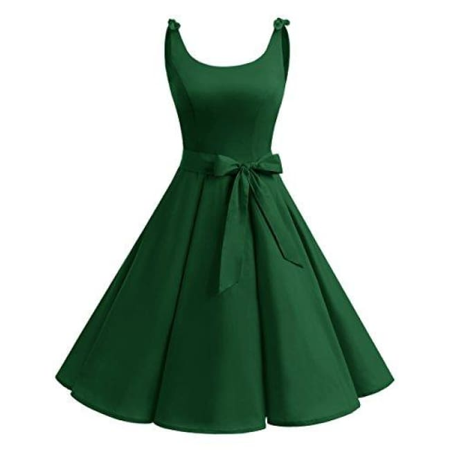 1950S Bowknot Vintage Retro Polka Dot Rockabilly Swing Dress X-Small / Green Dresses
