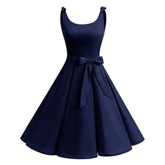 1950S Bowknot Vintage Retro Polka Dot Rockabilly Swing Dress X-Small / Navy Dresses
