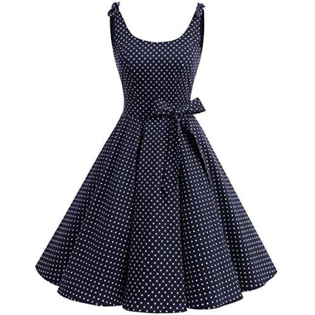 1950S Bowknot Vintage Retro Polka Dot Rockabilly Swing Dress X-Small / Navy White Dot Dresses
